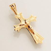 Pingente Crucifixo Ouro 18k Amarelo Masculino Jesus Cruz