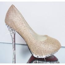 Sapato Salto Alto Bico Redondo Glitter Cristal Frete Gratis