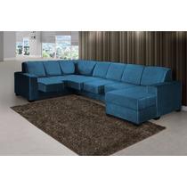 Sofá De Canto Azul Retrátil - Shopping Hm