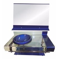 Gabinete De Vidro Azul P/banheiro - Com Espelho - 90cm