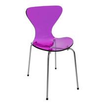 Cadeira Acrilica Jacobsen Tubular Base Em Aço Inox