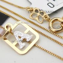 Rommanel Pingente Letra + Corrente 42cm Folheado Ouro 540100