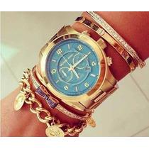 Relógio De Pulso Feminino Michael Kors Dourado Azul Promoçâo