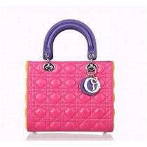 Bolsa Christian Dior Lady Di 100% Original Rosa 25 Cm Couro