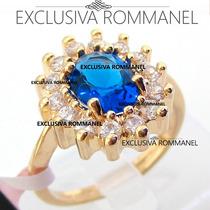 Rommanel Anel Formatura Solitario Folheado Ouro Azul 511482