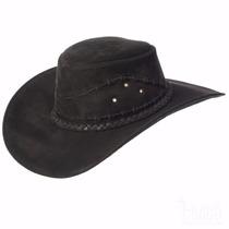 Chapéu Aba Larga Copa Alta Country Cowboy Preto Aba 9cm