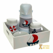Kit Higiene Com Capa E Bandeja Bebê Marinheiro Menino
