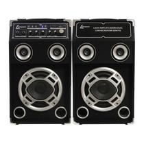 Caixa Amplificadora Dupla Usb/sd Karaokê Microfone S/fio