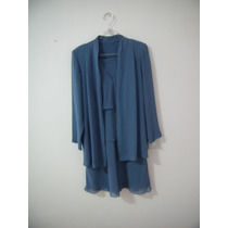 Conjunto Casaqueto, Saia E Blusa Crepe Azul