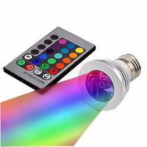 Lampada Led Rgb Colorida Spot 3w Controle Remoto Com Efeitos