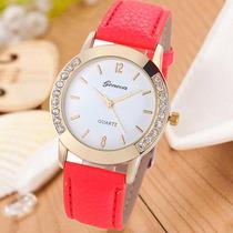 Relógio Feminino Stras Dourado Vermelho Importado Barato Gen