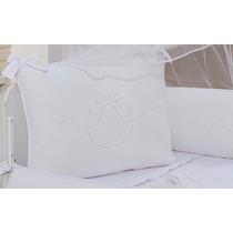 Kit Berço Todo Branco Laços Em Richilieu 9pç 100% Percal