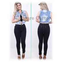 Calça Jeans Cintura Alta Hot Pants,disco Pant,levanta Bumbum