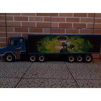 Caminhão Grande De Madeira Artesanal Ben 10 Azul Brinquedo