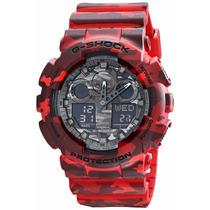 Relógio Casio G-shock Ga100cm4a Camuflado Vermelho Original