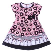 Vestido Infantil Floral Gatinho Miss Trm