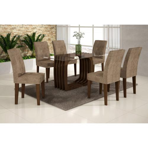 Sala Jantar Monalisa 1,60m E 6 Cadeiras Viena Rufato