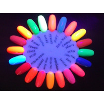 Esmaltes Fluorescentes Kit Com 20 Cores Brilham Na Luz Negra