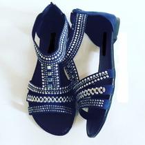 Rasteirinha Sandalia Baixa Rebite Preto Marca Leluel Shoes
