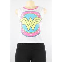 Dc Comics Wonder Woman Logo Tela Tee Branco