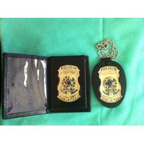 Pc Porta Notas E Porta Distintivo Polícia Comunitária(couro