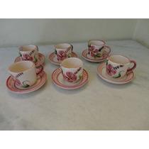 #14054 - Jogo 6 Xícaras Café Porcelana Caipira, Floral Rosa!