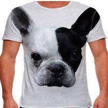 Camiseta Cachorro Bulldog Francês Branco E Preto Masculina