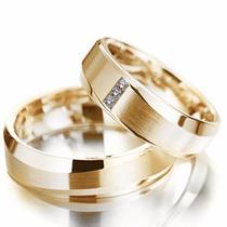 Par Alianças Ouro 18k 10gr 6mm Modelo Anatômica 3 Diamantes
