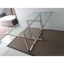 Mesa Retangular De Vidro Com Base Em Aço Inox