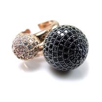 Anel Duplo Bubble -pavê De Zircônias- Banhado A Ouro 18k