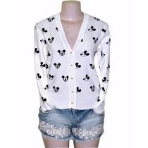 Cardigan Tricot Blusa Minnie Mickey Com Botão Branco Preto
