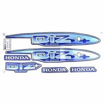 Adesivo Moto Honda Biz100+ 2002 Azul Kit