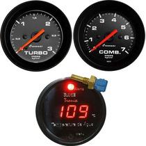 Kit Manômetro Turbo Combustivel Termômetro Agua Cronomac