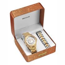 Relógio Seculus Feminino Kit Troca Pulseira 20149lpspds1