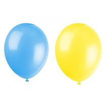 Balão Art-latex Nº7 - Bexiga Para Festa Azul E Amarelo 100u.