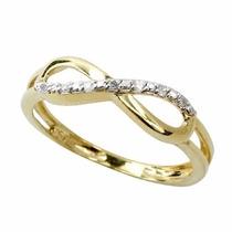 Anel Infinito De Ouro 18k Com Diamantes Jr Joalheiro.