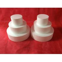 2 Kits Bases Isopor Bolo Falso Cenográfico 35x25x15cm-10cm