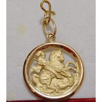 Leão Jóias Pingente Medalha São Jorge 1,3gr De Ouro 18k