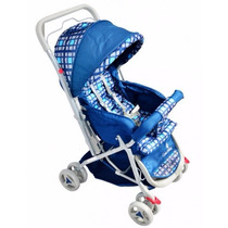 Carrinho Bebê Tipo Berço 3 Posições Reversível Azul Xadrez