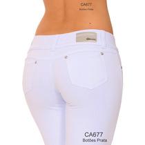 Calças Brancas Moletinho Skinny Tenho Hot Pants Jeans Social