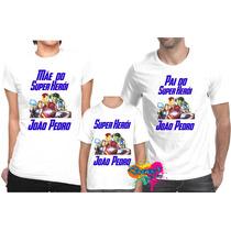 Camiseta - Camisa Personalizada Vingadores Marvel A4 / 3pçs