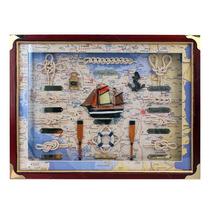Quadro Decorativo Nós De Corda E Barco Ao Mar Em Madeira