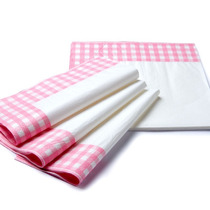 Guardanapo Papel Xadrez 33x33cm C/20 Folha Dupla Branco Pink