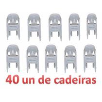 Kit 40 Cadeiras Poltrona De Plastico Boa Vista Branco