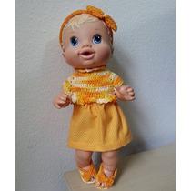 Roupinha Para Baby Alive Crochê E Pano Amarela E Laranja