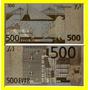 Bela Cédula Fantasia De 500 Euros Fe Banhada A Ouro !!!