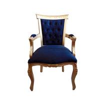 Cadeira Luis Xv Entalhada Capitonê C/ Braço- Wood Prime