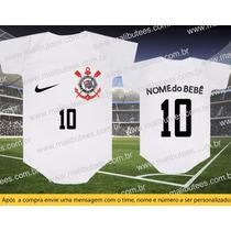 Body Timão Time Futebol Bebê Personalizado Corinthians