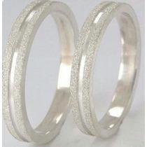 Par De Alianças Prata 950 5mm Diamantada Compromisso Namoro