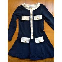 Vestido Infantil Azul Marinho - Tamanho 6